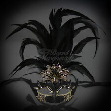 Masquerade Mask Feather Black Venetian Mardi Gras Masks for Women M33136B
