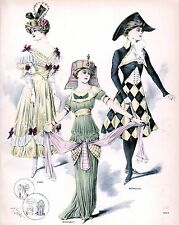 Edwardian party time Ladies costumes Art Print 10 x 8