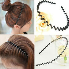 Unisex Women Zigzag Sports Soccer Metallic Wavy Hair Head Band Hair Hoop Black