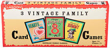 3 Vintage Family Card Games - Brand New Hearts Animal Rummy Crazy Eights
