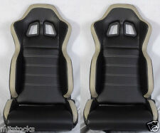 NEW 2 BLACK & GRAY PVC LEATHER RACING SEATS + SLIDER RECLINABLE ALL FORD MUSTANG