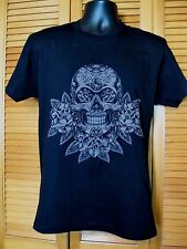 Crew Neck T-Shirt, Day of the Dead, Skull & Flowers Design, Size M, Black