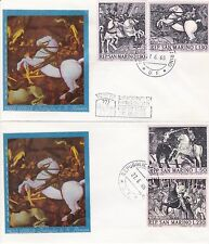 2 first day covers, San Marino, Sc #688-91, Gold Filigrano silk cachets, 1968