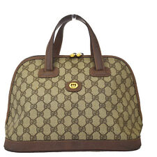 Authentic GUCCI Logo GG Pattern Hand Bag PVC Leather Brown Made In Italy 01D065