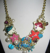 BETSEY JOHNSON JEWELS OF THE SEA CRAB STARFISH AND FISH  NECKLACE