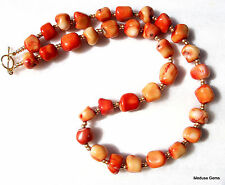 Natural Orange Coral Necklace. Free Earrings. Genuine Corals.