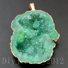 Natural Druzy Quartz Agate Geode Sliced Pendant Beads Gold Necklace 30x45mm Big