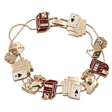 B371 Forever 21 Poker Card Game Suits Casino Spades Hearts Gamble Bracelet US