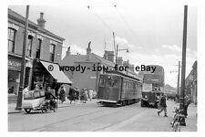 pt9061 - Cleethorpes Tram no 14 & Bus no 92 in 1955 - photograph