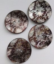 4 Iridescent Shell Buttons, Floral. 25mm. Sewing/Crafts/Jewellery Making