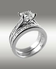 Princess Cut Engagement Ring 3.66Ct & Matching Wedding Band 14K Solid White Gold