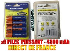 8 Piles AA 4800mAh Rechargeable Mignon LR6 1.2V Ni-Mh  TRES PUISSANT - FRANCE