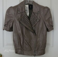 BIRD by JUICY COUTURE Taupe Leather Stud Cropped Motorcyle Jacket s/small $998