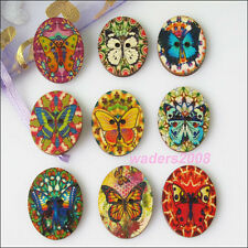 20 New Butterfly Oval Pattern 2 Holes Wood Buttons Sewing Scrapbooking 22x28.5mm
