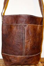 Recycled Raw natural Leather Handmade shoulder Bag / Brown