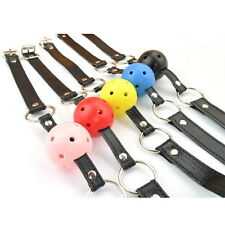 New  Leather Harness Mouth Soft Solid Ball Gag 45mm Mouth Plug Happy Time E