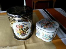 Vintage DAHER TIN ENGLAND BOX TEA COFFEE 1970s CONTAINER CANISTER BUTTERFLY