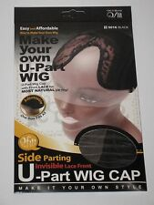 QFITT Make Your Own U-Part wig Cap Side Parting invisible,Lace Front,#5016 Black