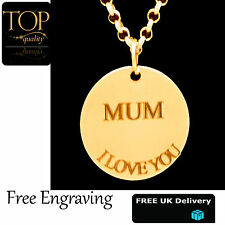 Disc Pendant Personalised Engraved Name Necklace Gold Plated Gift Mothers Heart