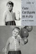 ~ Vintage P&B Toddler Knitting Pattern For Two Cute Cardigans To Knit ~