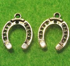 50Pcs. WHOLESALE Tibetan Silver 3D HORSESHOE Charms Pendants Earring Drops Q0249