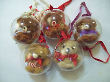 "5 Teddy Bears in a Plastic Ball Ornament - 3 1/2"" Xmas, Party, Girl, Baby, Angel"
