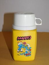 VINTAGE 6 1/2' HIGH KING SEELEY SMURFS PLASTIC YELLOW THERMOS