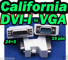 DVI-I Female (24+5) to VGA Male (15 pin) Connector Adapter F to M DVI I to VGA