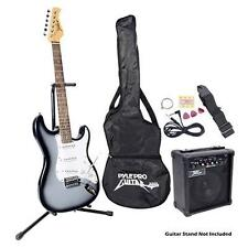 Pyle PEGKT15GS Beginner Electric Guitar Set Package W/ Amp & Speaker Grey Silver
