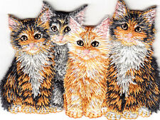 4 KITTENS - PETS - ANIMALS - CATS - KITTY - Iron On Embroidered Applique Patch