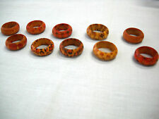 LOT OF 10 MULTIPLE PATTERN  ASSORTED BROWN COLORS REAL WOOD RINGS MIXED SIZES