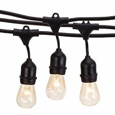 48' Outdoor String Lights Set Weatherproof Patio Hanging Clear Bulbs Party Fairy