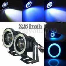"2.5"" COB LED Car Fog Driving Light Projector White Angel Eye Halo Ring DRL Bulb"