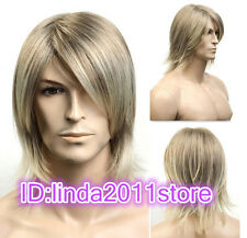 2015 Fashion Short blonde mix Man Men Wig Daily Natural Hair wigs + Free Wig cap
