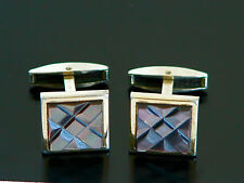 Vtg 30s 40s HADLEY Abalone Shell Gold Tone Cuff Links Cufflinks Square Art Deco