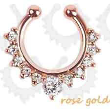 Charms Fake Septum Clicker Crystal Rose Gold Nose Ring Piercing Clip On Jewelry