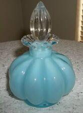 VTG FENTON ART GLASS BLUE CASED MELON SILVERCREST PERFUME SCENT BOTTLE