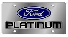 New Ford Platinum Blue Logo Stainless Steel License Plate