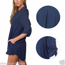 Women Blouse Chiffon Long Sleeve Ladies T Shirt Casual Loose Short Dress Tops Cs