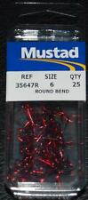 25 Pack Mustad 35647R Blood Red Size 6 Round Bend Treble Hooks