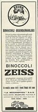 W3213 Binoccoli grandangolari CARL ZEISS - Pubblicità 1930 - Advertising