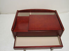 Men's Burlwood Walnut Valet Jewelry / Watch  Box  Dresser Wallet Tray