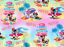 DISNEY MINNIE MOUSE & DAISY SURFS UP SURFING COMIC STRIP  COTTON FABRIC  YARDAGE