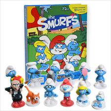 THE SMURFS BUSY BOOK - STORY 12 FIGURES AND A PLAYMAT CAKE TOPPERS FREE P+P