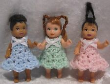 NIKKI Happy Family Toddler Doll Clothes #12 Crochet 3 Dresses, Pink Blue Green