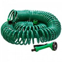 50 ft Coil 15 Metre 15M Retractable Garden Water Hose Pipe With Spray Gun 000667