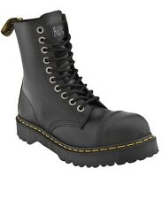 Dr. Martens 10 Eye Black Fine Haircell Steel Toe Boots W/ Black Sole Size 6 Mens