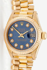Estate $25,000 FACTORY BLUE Diamond DIAL 18K Gold Ladies President Watch & BOX