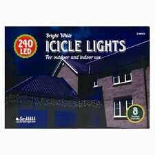 Christmas LED Icicle Lights - 240 White Lights String Chaser Icicle