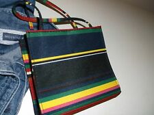 MACIE MARIE SMALL POCKET BOOK PURSE STRIPED MULTI-COLORS BLACK RED GREEN YELLOW